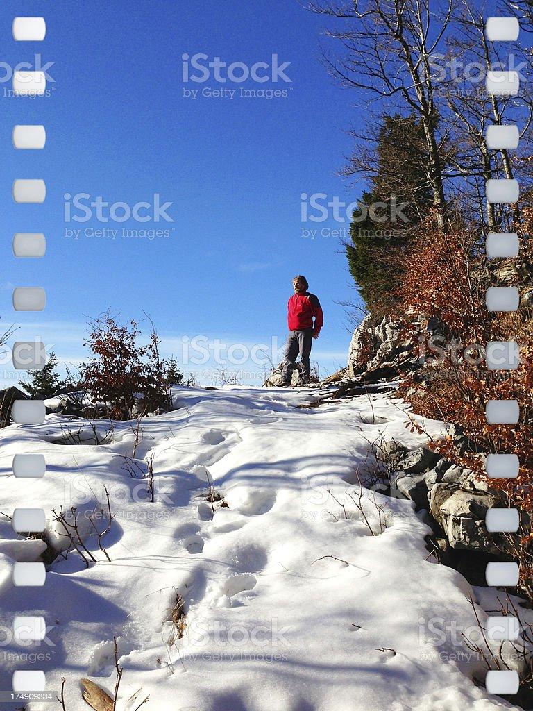 Man Enjoying View of Winter Landscape Slovenia royalty-free stock photo