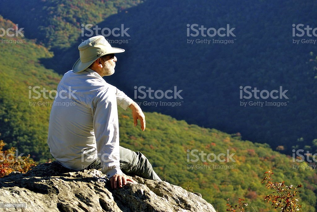 Man enjoys a  hillltop view in the Berkshires stock photo