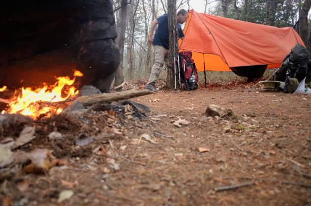mann in hängematte tarp-zelt in campingplatz - planenzelt stock-fotos und bilder