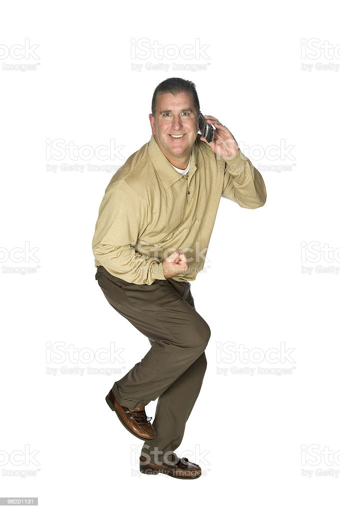 Man excited on cell phone royalty-free stock photo