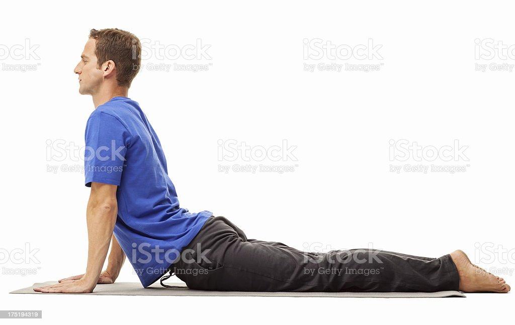 Man Exercising On Mat - Isolated stock photo