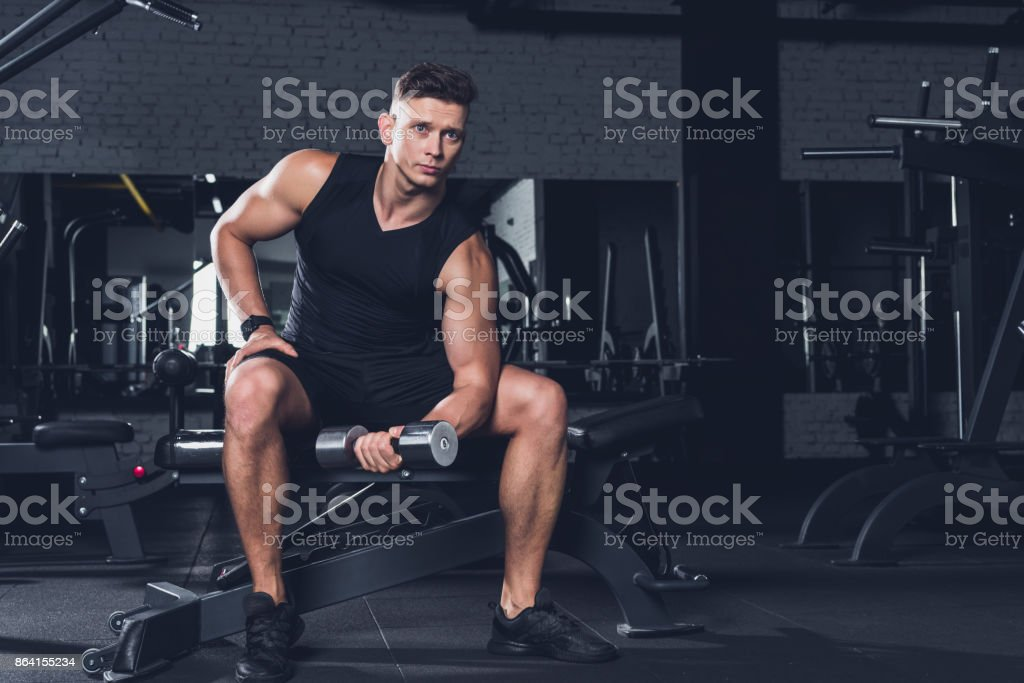man exercising with dumbbell royalty-free stock photo