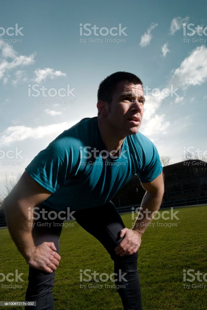 Man exhausted after training outside royalty-free 스톡 사진