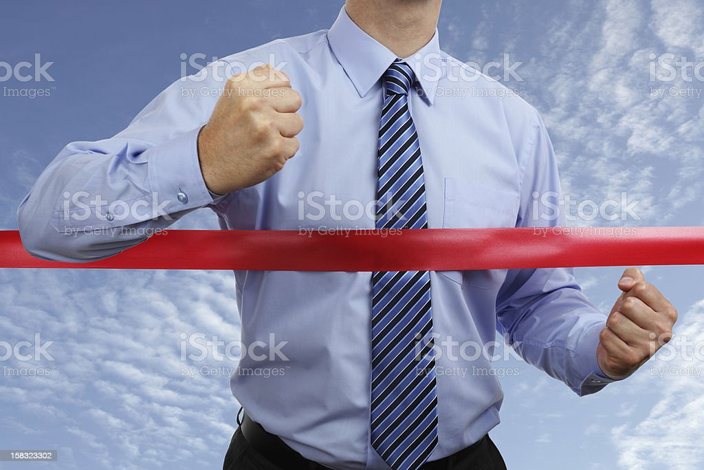 A man experiencing a business victory stock photo