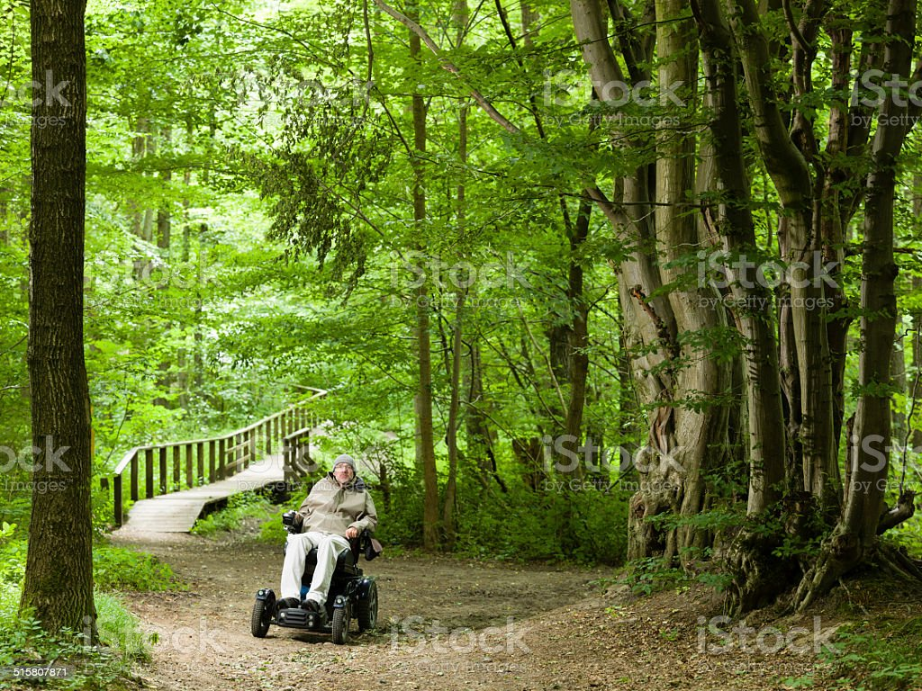 man exploring a forrest in a motorized wheelchair stock photo