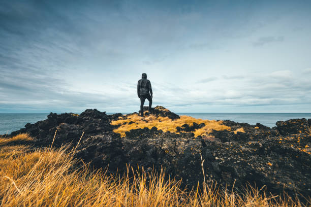Man Exploring Iceland stock photo