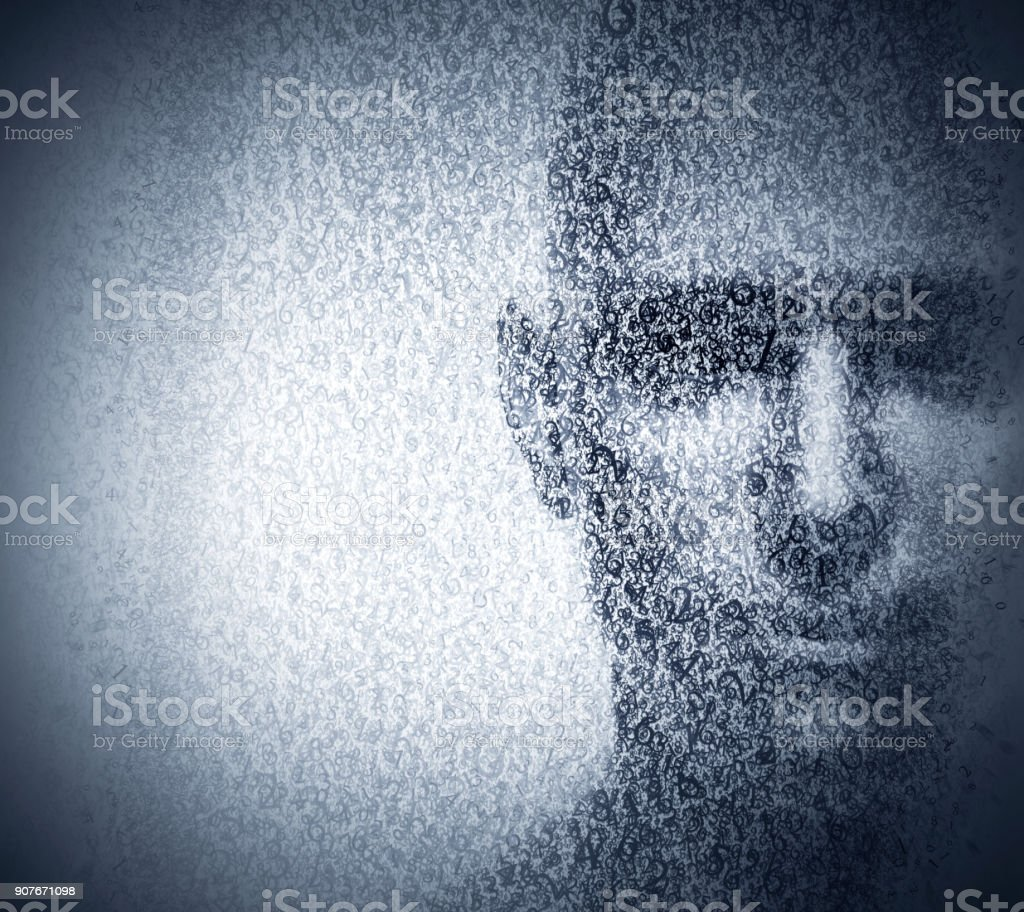 Man face blended with binary code digits. Concept of hacker, data protection etc. stock photo