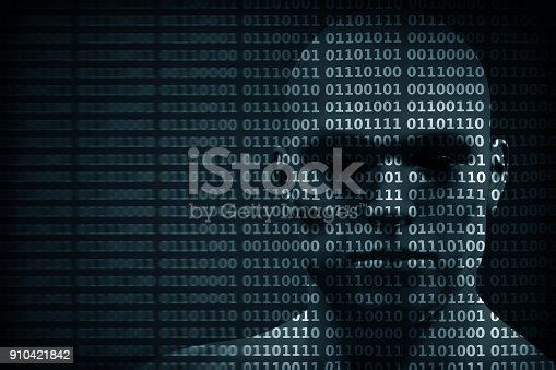 istock Man face blended with binary code digits. Concept of hacker, data protection etc. 910421842