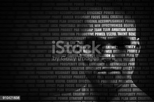 istock Man face blended with flowing list of motivational words 910421838