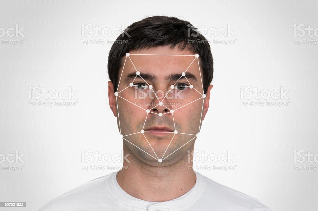 Man face recognition - biometric verification concept stock photo