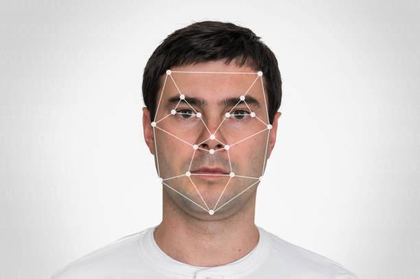 Man face recognition - biometric verification concept stock photo