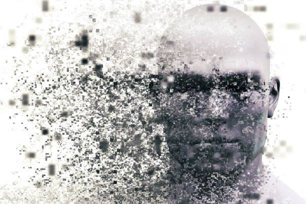 man face with pixel dispersion effect. concept of technology, modern science but also disintegration - disintegrate stock pictures, royalty-free photos & images