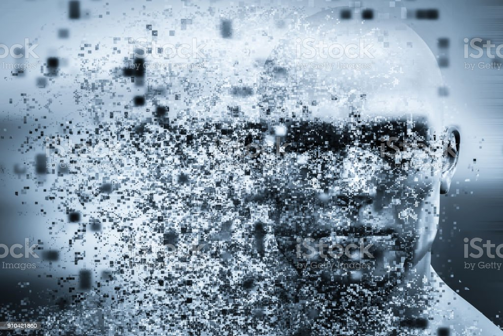 Man face with pixel dispersion effect. Concept of technology, modern science but also disintegration stock photo