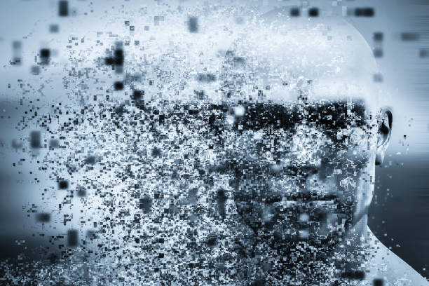man face with pixel dispersion effect. concept of technology, modern science but also disintegration - deterioration stock pictures, royalty-free photos & images