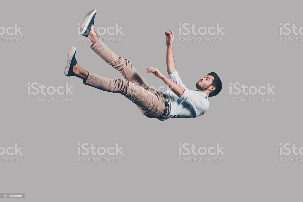 Man falling down. stock photo