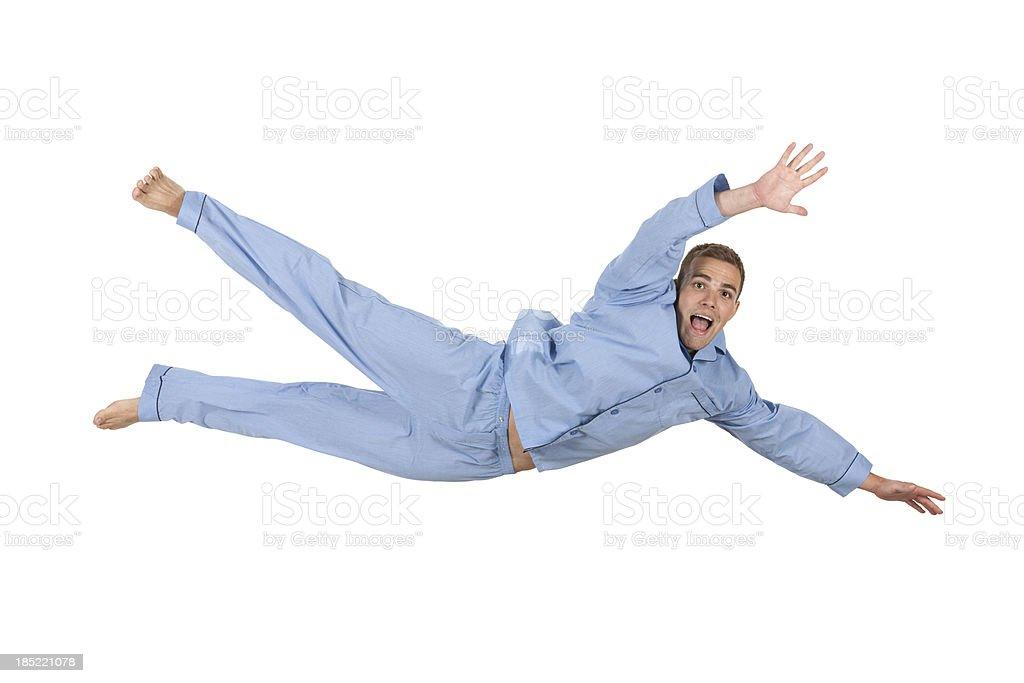Man falling in pajamas royalty-free stock photo