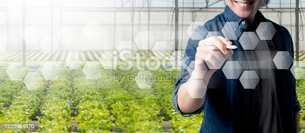 1096949092 istock photo Man, farm, futuristic background. Smart farmer IOT smart agriculture AI technology monitoring system growing plant, automate sensor robotic smart farming industry future internet of thing technology. 1223984370