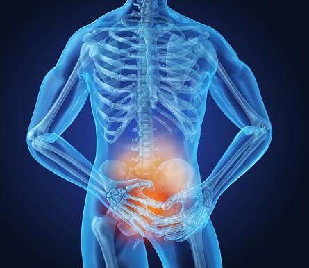 Man Gevoel Pijn In Maag 3d Illustratie Stockfoto en meer beelden van Baarmoeder