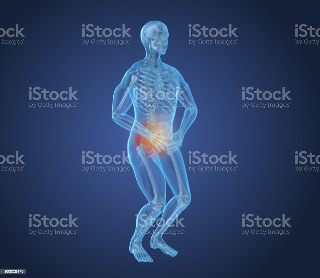 Man feeling pain in stomach, 3D illustration - Royalty-free Abdomen Stock Photo