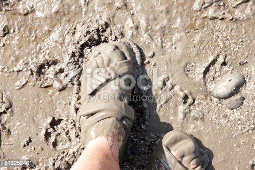 Man feet in sandals covered in mud