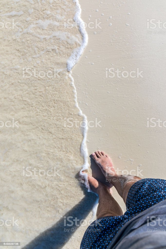 Pov Man Feet On Tropical Sand Beach Cayo Coco Cuba Stock Photo