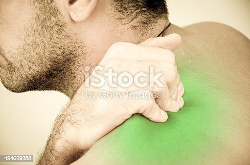 istock Man felt severe pain on the body 494669358