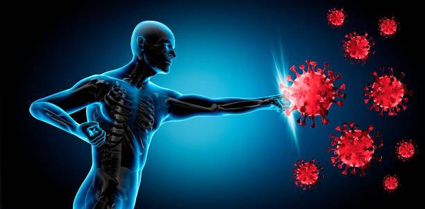 Hombre luchando contra el virus Covid-19 - foto de stock