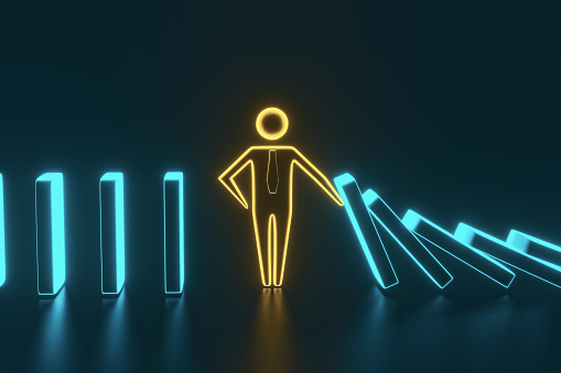istock Man figure stopping the domino effect. 3D rendering 1166167180