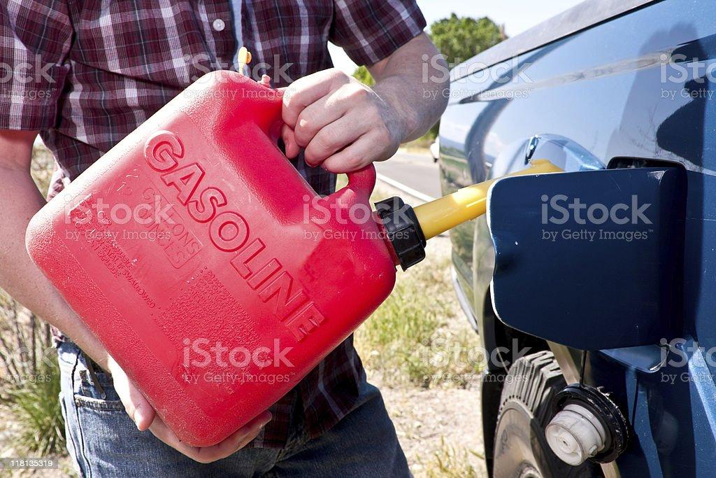 Man Filling Gas Tank stock photo