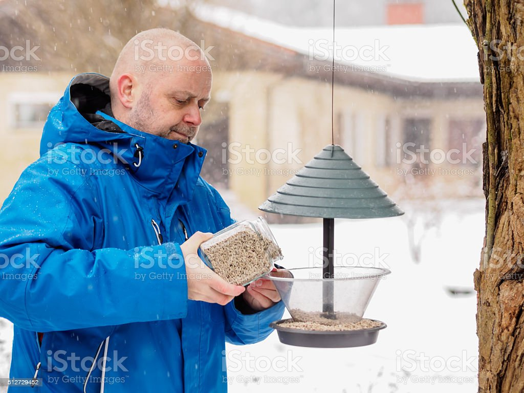 Man fills a bird feeder stock photo