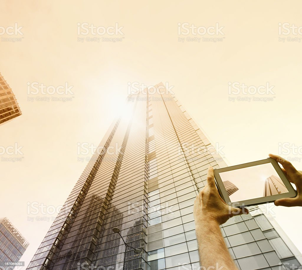 Man Filming Skyscraper, London - England. stock photo