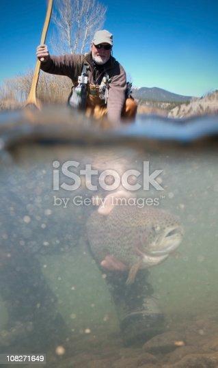 istock Man Fishing and Releasing Fish 108271649
