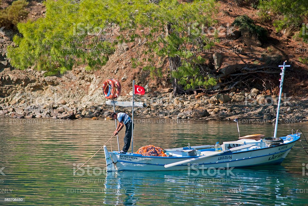 Man fishing near Kas, Turkey stock photo