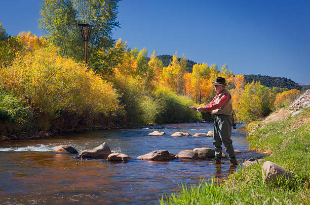 Homem pesca no Roaring Fork Valley - foto de acervo