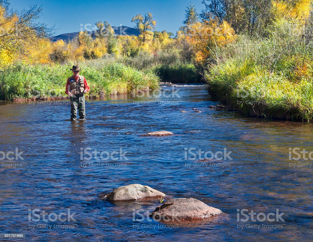 Man Fishing the Roaring Fork Valley stock photo