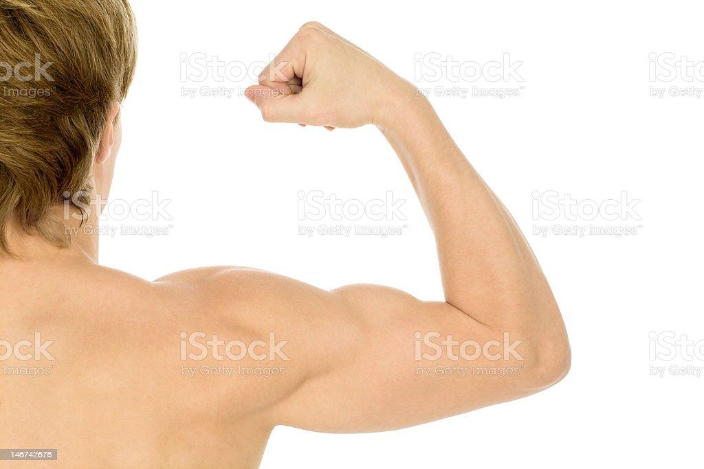 Man flexing biceps royalty-free stock photo
