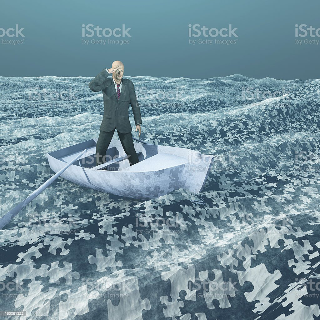Man floating on puzzle piece sea stock photo