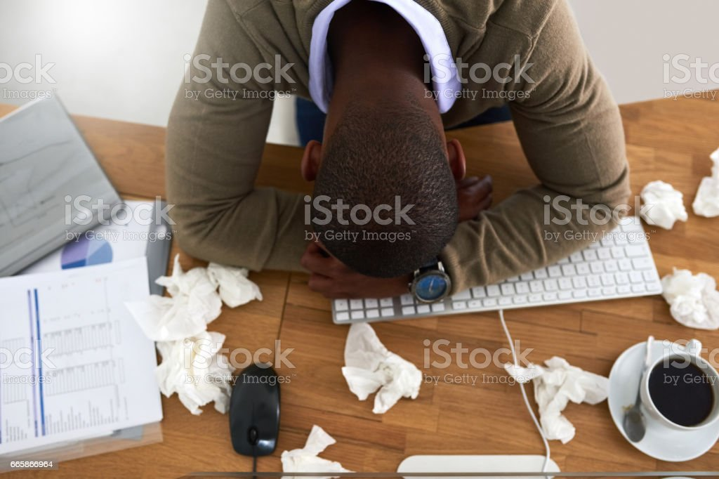 Man flu - the struggle is real stock photo
