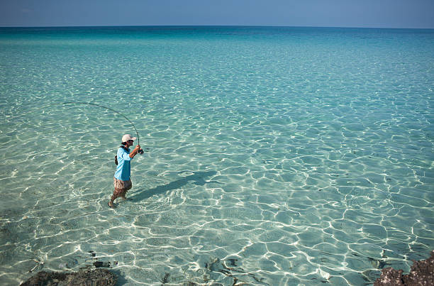 Man Fly Fishing for Bonefish in the Caribbean.