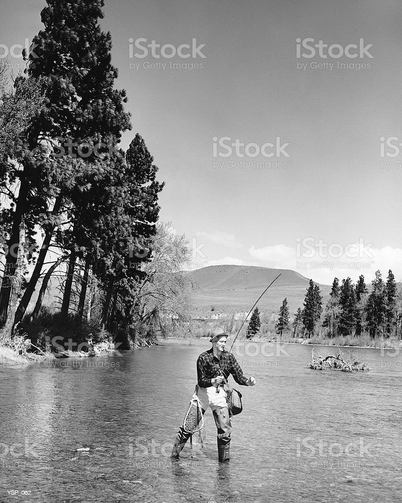 Man fly-fishing in stream royalty-free stock photo