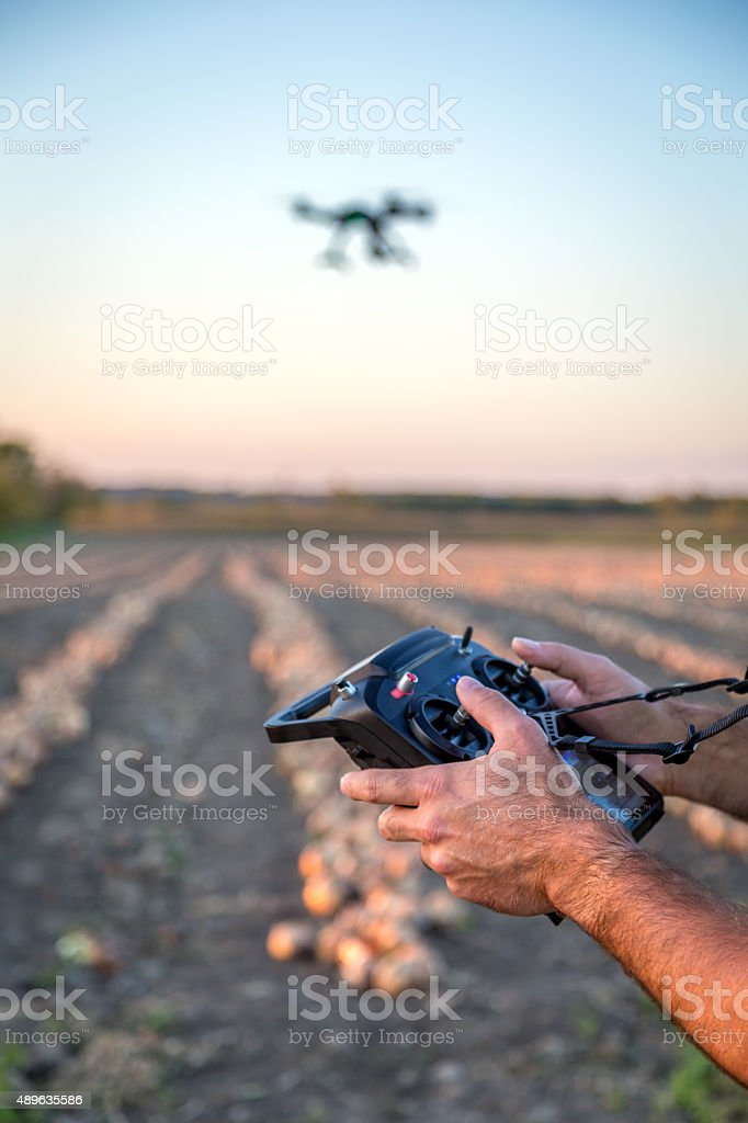 Man Flying a Drone stock photo