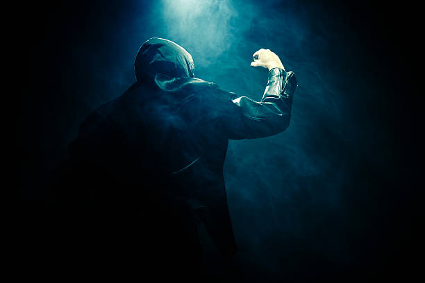 Man fog fist hand stock photo