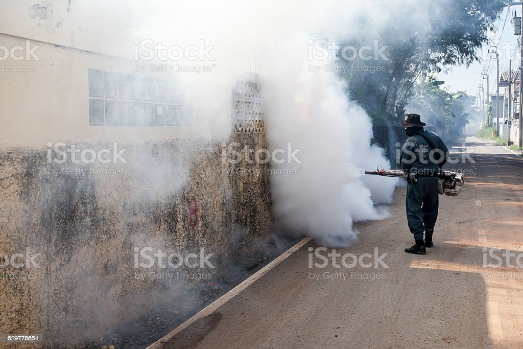 Man Fogging mosquito to prevent of dengue fever stock photo