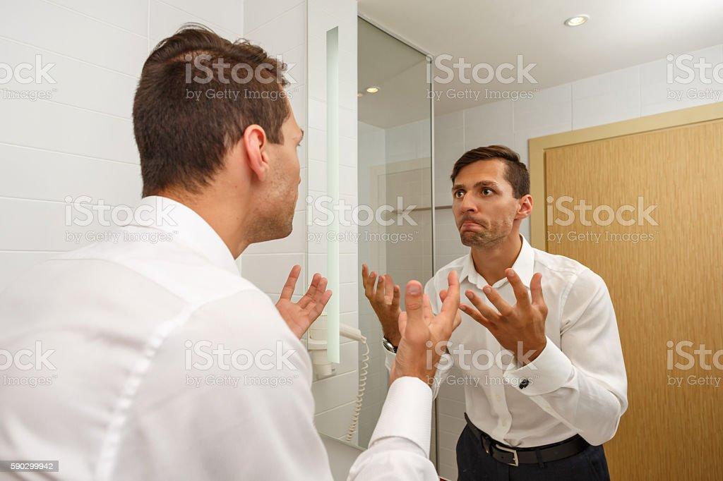 Man forgot to shave in morning. royaltyfri bildbanksbilder