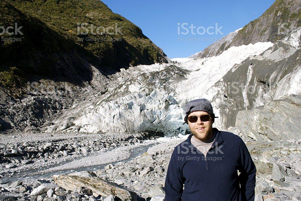 Man, Franz Joseph Glacier, Westland National Park, New Zealand royalty-free stock photo