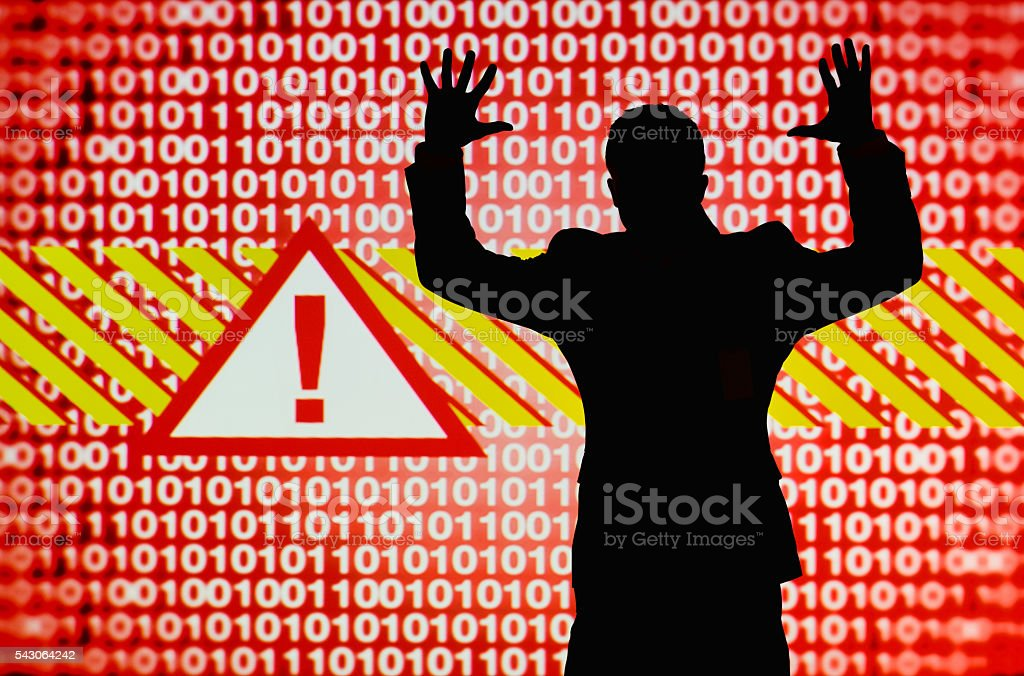 Man freaking out over digital hacking alert stock photo