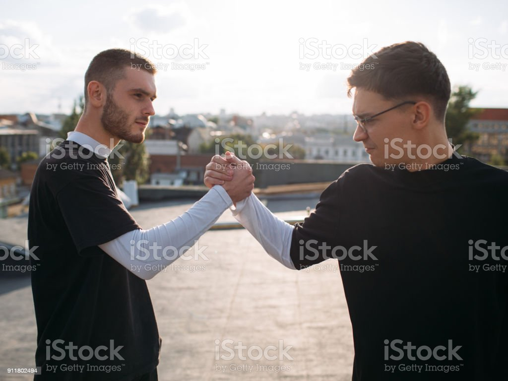 man friendship loyalty bff support trust power stock photo