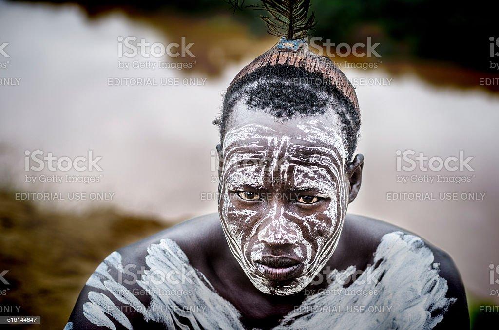 Man from Karo tribe stock photo