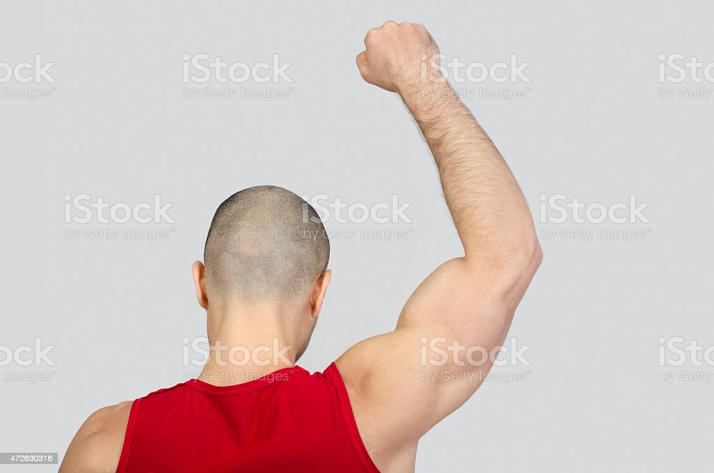 Man from the back raising his arm and fist. stock photo