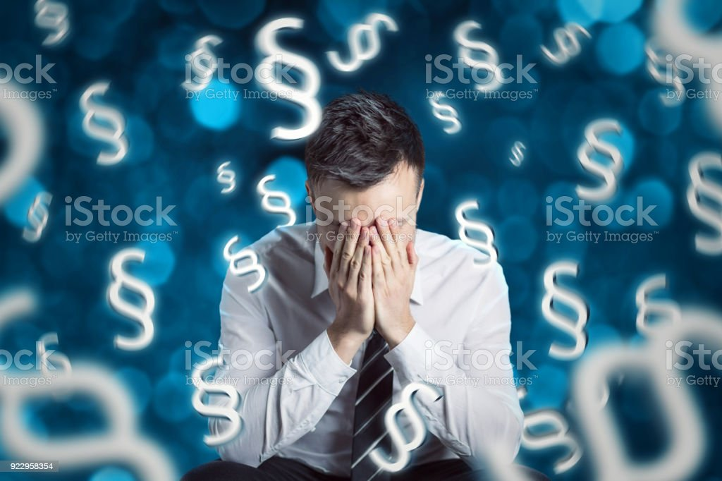 Man frustrated over legal paragraphs stock photo